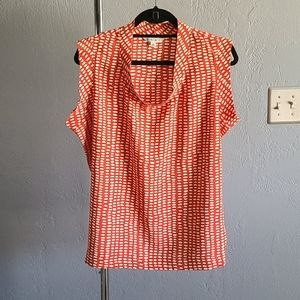 CAbi Madeline cap sleeve orange/white print blouse